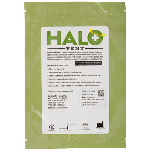 Halo Vent Chest Seal, 1 Vented and 1 Non-vented