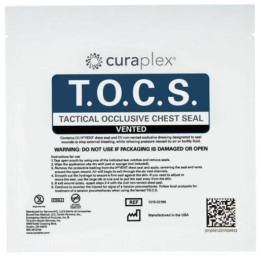 Curaplex<sup>&reg;</sup> Tactical Vented Occlusive Chest Seal (T.O.C.S.)