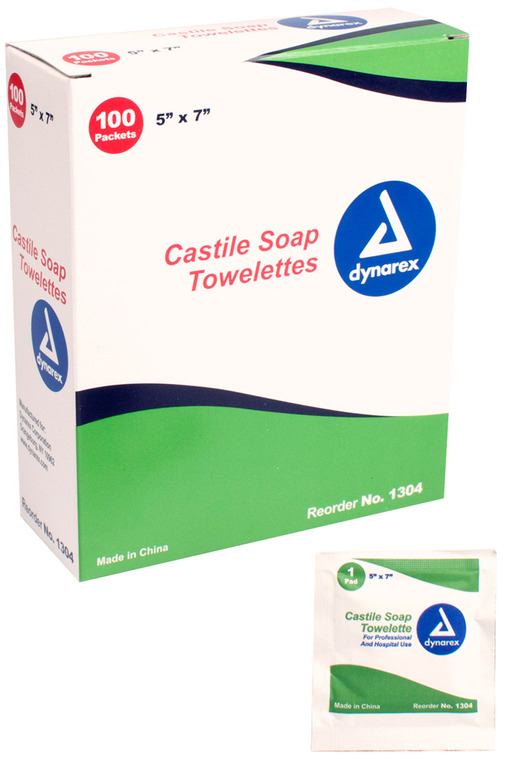 "Dynarex<sup>®</sup> Castile Soap Towelettes, 5"" x 7"", 100/box"