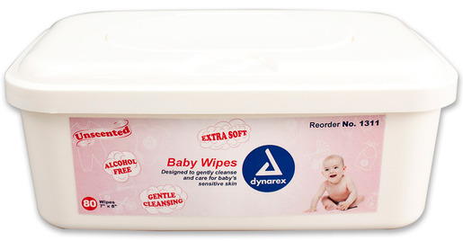 Dynarex<sup>®</sup> Baby Wipes, Unscented, 7&rdquo; x 8&rdquo;, 80 Wipes, Tub
