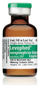 Levophed<sup>™</sup> (Norepinephrine Bitartrate) 0.1% Injection, USP, 4mg, 4mL Vial