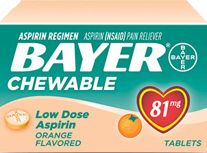 Bayer Children's Aspirin, Orange, 81mg, 36/bottle