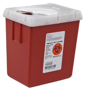 Covidien SharpSafety<sup>™</sup> Phlebotomy Sharps Container with Autodrop System, 2 1/5qt