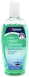 Safetec Instant Hand Sanitizer, Fresh Scent, 8oz Flip Top Bottle