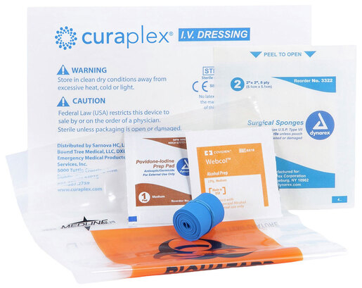 Curaplex<sup>®</sup> IV Start Kit with IV Guard, Alcohol Prep Pad, Guaze, Specimen Bag, Tourniquet