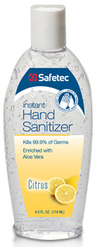 Safetec Instant Hand Sanitizer, Citrus Scent, 4oz Flip Top Bottle
