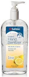 Safetec Instant Hand Sanitizer, Citrus Scent, 16oz Pump Bottle