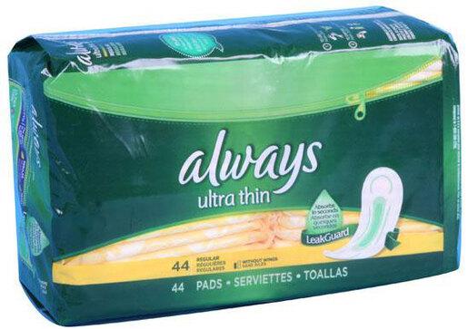 Always<sup>®</sup> Ultra Thin Maxi Pads, Regular