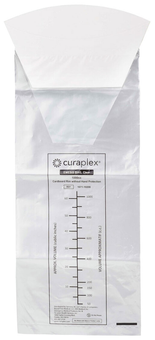 Curaplex<sup>®</sup> Emesis Bags, 1000cc, Cardboard Rim, Clear, without Hand Protection
