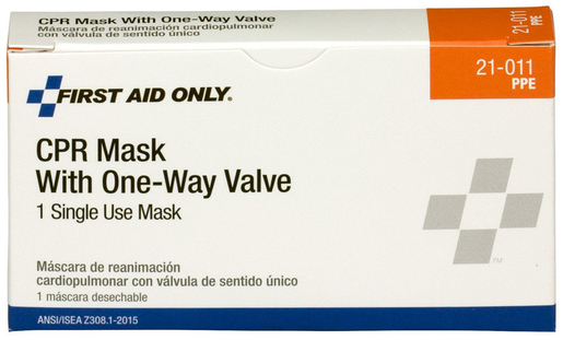First Aid Only<sup>&reg;</sup> Pac-Kit CPR Mask with 1-way Valve, 1/box