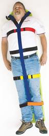 DMS Y-Body Strap, Polypropylene, Velcro, Blue/Orange