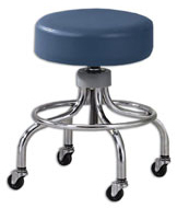 Adjustable Chrome Base Stools with Foot Ring