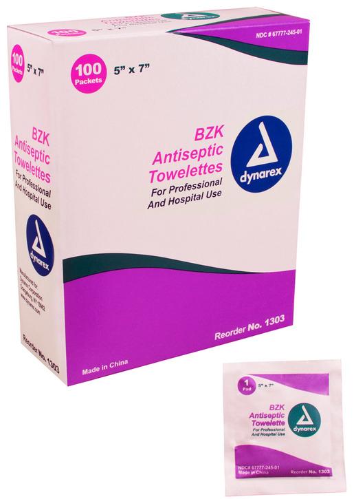 Dynarex<sup>&reg;</sup> BZK Antiseptic Towelettes