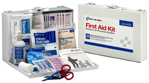 First Aid Only  106-piece Bulk First Aid Kit, 25 Person, Metal Case