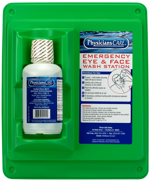 First Aid Only<sup>®</sup> PhysiciansCare Eye Wash Station and Wall Mount, 16oz Bottle