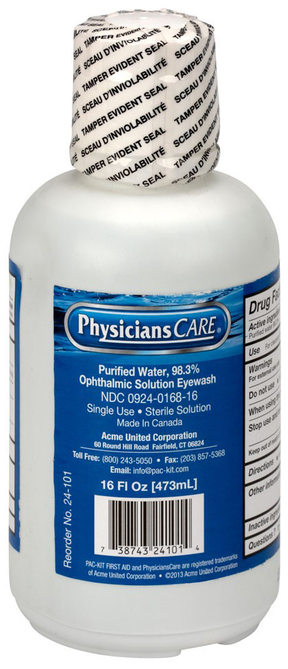 First Aid Only<sup>®</sup> Eye Wash Station, Flush Solution Only, 16oz