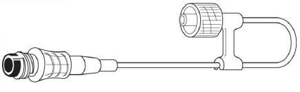 "Baxter Interlink IV Connector Loop, Male Luer Lock Adapter, 6"""