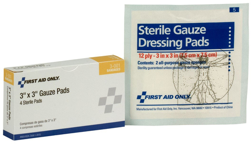 "First Aid Only<sup>®</sup> Pac-Kit Gauze Pads, 3"" x 3"""