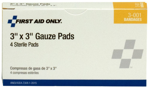 First Aid Only<sup>®</sup> Pac-Kit Gauze Pads, 3&rdquo; x 3&rdquo;