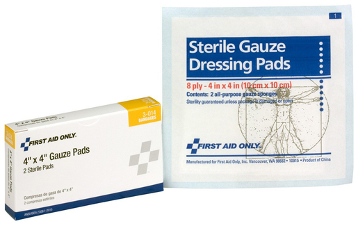 "First Aid Only<sup>®</sup> Pac-Kit Gauze Pads, 4"" x 4"""