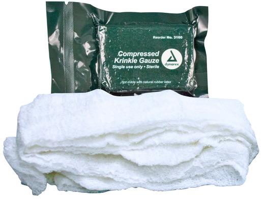 Dynarex<sup>®</sup> Compressed Krinkle Gauze, 4.5&rdquo; x 4.1yd