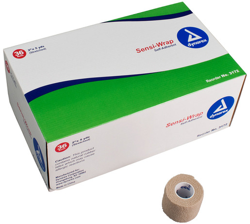 Dynarex<sup>®</sup> Sensi-Wrap Self-adherent Bandage Rolls, Tan, 2&rdquo;