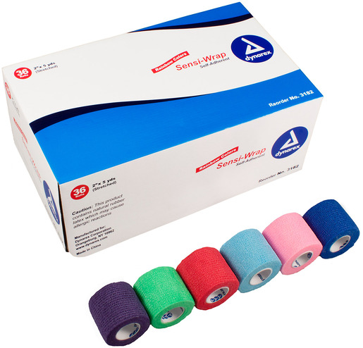 Dynarex<sup>&reg;</sup> Sensi-Wrap Self-adherent Bandage Rolls, Rainbow, 2&rdquo;