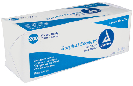 Dynarex<sup>®</sup> Surgical Gauze Sponges, Non-sterile, 12-ply, 3&rdquo; x 3&rdquo;