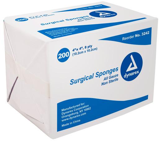 Dynarex<sup>&reg;</sup> Surgical Gauze Sponges, Non-sterile, 8-ply, 4&rdquo; x 4&rdquo;