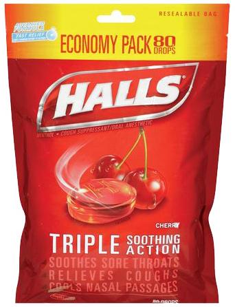 Halls Menthol Cough Drops, Cherry