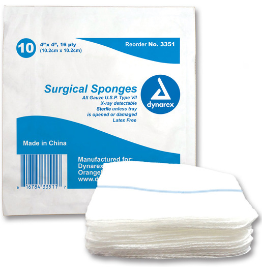 "Dynarex<sup>®</sup> Surgical Gauze Sponge, Sterile, X-Ray Detectable, 4"" x 4"""