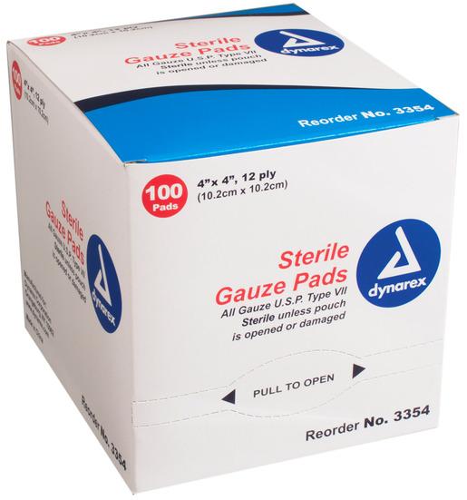 Dynarex<sup>®</sup> Sterile Gauze Pads, 4&rdquo; x 4&rdquo;
