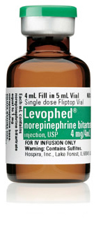 Levophed<sup>™</sup> (Norepinephrine Bitartrate) 0.1% Injection, USP, 1mg, 4mL Vial, 10ea/bx