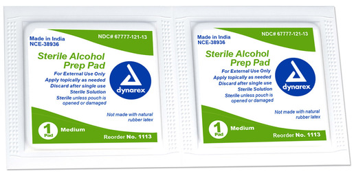 Dynarex<sup>®</sup> Alcohol Prep Pads, Sterile, Medium, 200/box