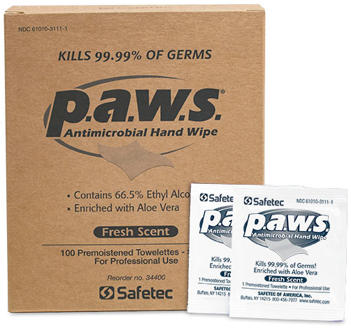 Safetec p.a.w.s.<sup>®</sup> Personal Antimicrobial Hand Wipes