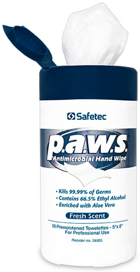 Safetec p.a.w.s.<sup>&reg;</sup> Personal Antimicrobial Hand Wipes, 50/tub
