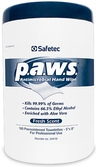 Safetec p.a.w.s.<sup>®</sup> Personal Antimicrobial Hand Wipes, 160/tub