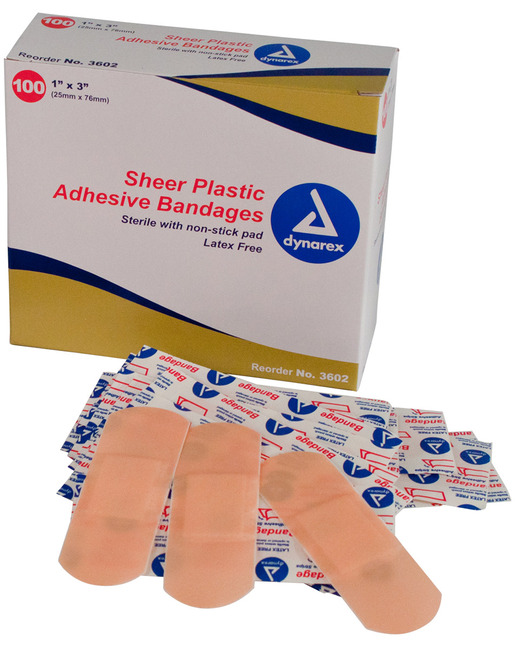 Dynarex<sup>®</sup> Adhesive Sheer Bandages, Sterile, 1&rdquo; x 3&rdquo;