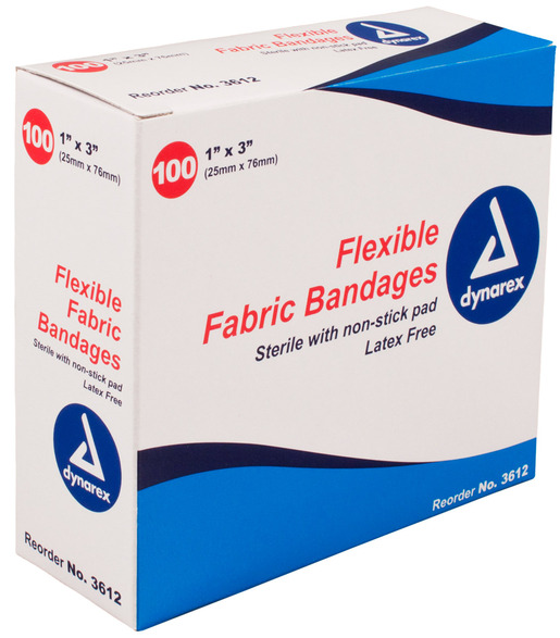 Dynarex<sup>®</sup> Flexible Fabric Adhesive Bandages, Latex-free, Sterile, 1&rdquo; x 3&rdquo;