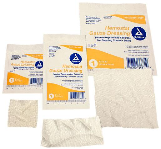 "Dynarex<sup>®</sup> Hemostat Gauze Dressing, Sterile, 2"" x 2"", 20/box"