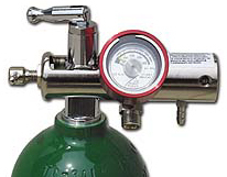 Allied RHINO<sup>™</sup> Brass O2 Regulator with Liter Flow, Aluminum Gauge