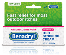 Benadryl<sup>®</sup> Itch-Stopping Cream, Original Strength, 1%, 1oz (30g) Tube