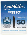 AgaMatrix Presto Blood Glucose Test Strips, 50/box