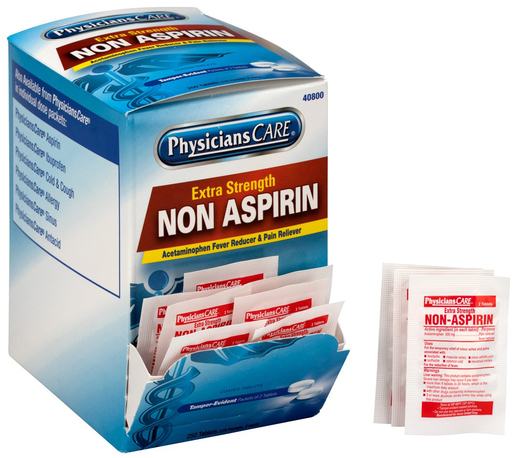 PhysiciansCare<sup>®</sup> Non-Aspirin Acetaminophen Pain Reliever Medication, 125 packets, 2 tablets/package