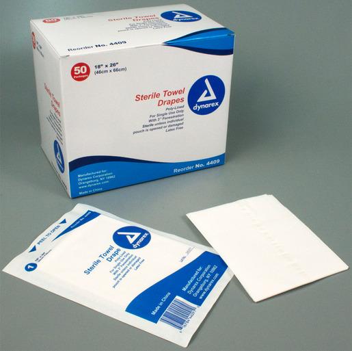 "Dynarex<sup>®</sup> Disposable Towel Drapes, Sterile, 18"" x 26"""