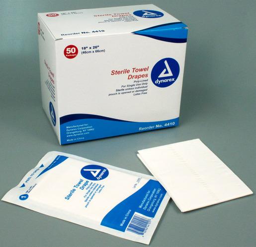 Dynarex<sup>®</sup> Disposable Towel Drapes, Sterile, 18&rdquo; x 26&rdquo;, Plain