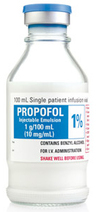 Propofol Injectable Emulsion with Benzyl Alcohol, 1%, 10mg/mL, 100mL Single-dose Vial