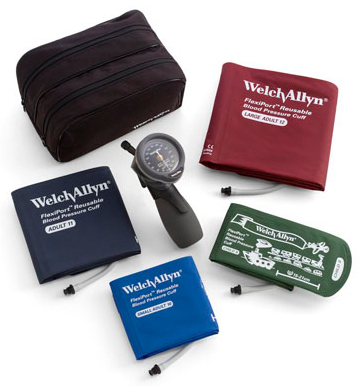 Welch Allyn<sup>®</sup> Tycos<sup>®</sup> DS66 Trigger Aneroid Kit, Gold Series, Multi-cuff