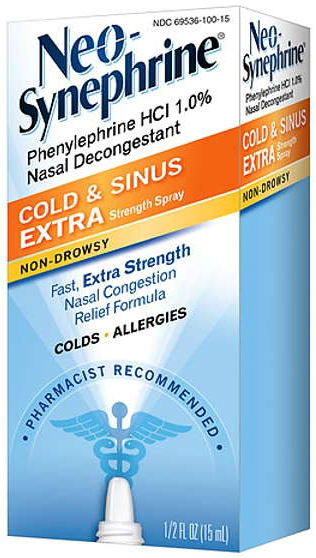 Neo-Synephrine<sup>®</sup> Cold and Sinus Extra Strength Nasal Spray, 1%, 15mL Spray