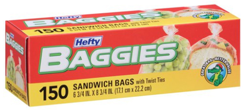 "Hefty Baggies Storage Bags with Twist Ties, 6 3/4"" x 8"""